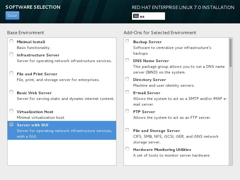 """第7步:返回主页面后再点击""""Software Selection""""后选择""""Server With GUI""""。"""