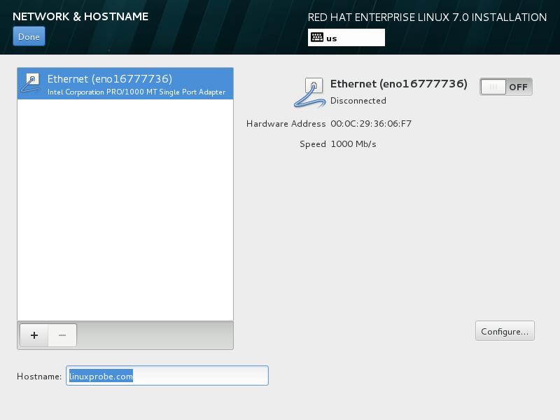 """第8步:返回主页面后再点击""""Network & Hostname""""后设置主机名""""linuxprobe.com""""。"""