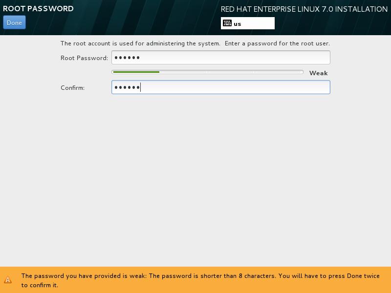 第11步:设置Root用户的密码(简单密码请双击Done)。