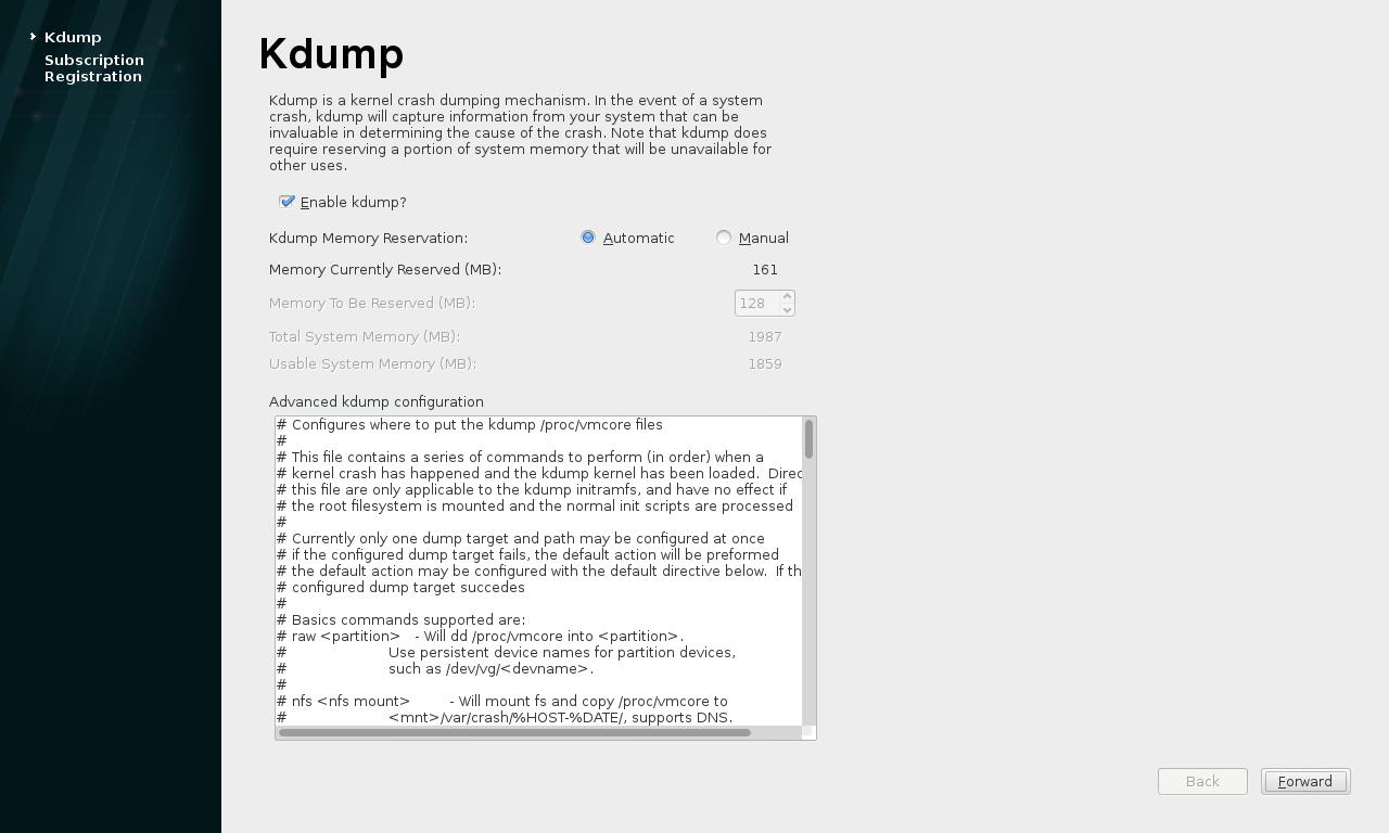 """第16步:为本书后章讲到的""""Kdump""""建议开启(默认)。"""