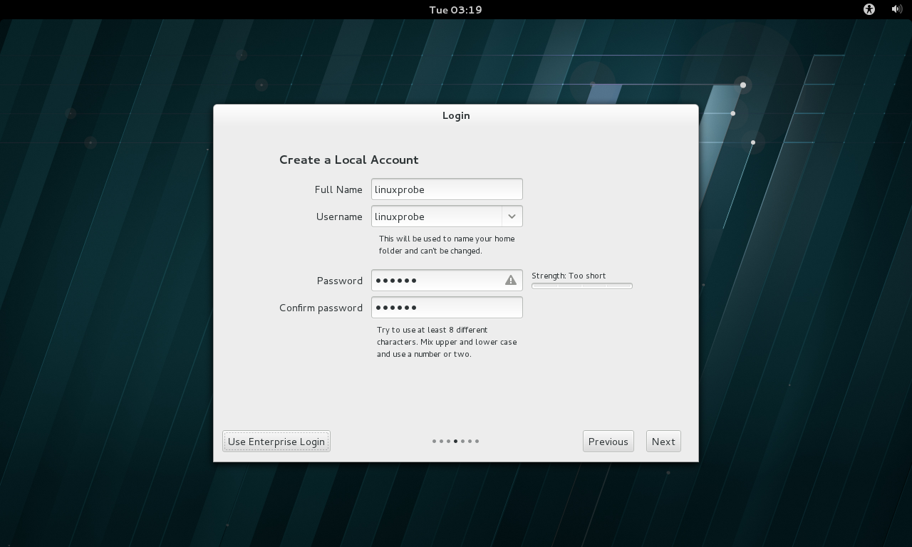 第20步:创建一个本地用户(权限比Root小,但更加安全)。