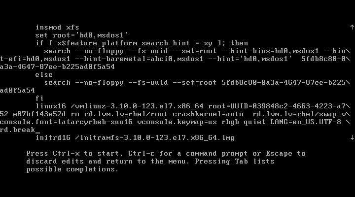 """第2步:在linux16这行的后面输入""""rd.break""""并敲击""""ctrl+x""""。"""