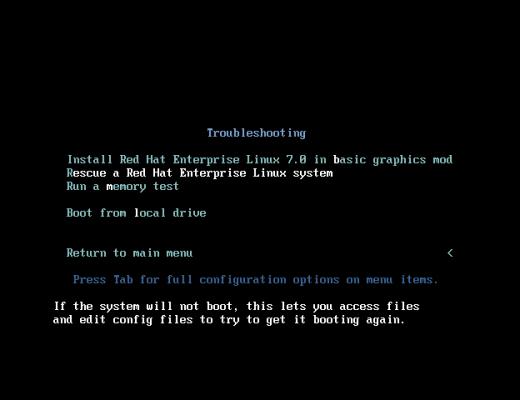 草根吧 Linux系统Root密码破解(RHEL7&Centos7版本)  精品教程 %E9%80%89%E6%8B%A9Rescue-a-Red-Hat-Enterprise-Linux-System-520x400