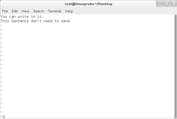 """第10步:返回命令模式后尝试"""":q""""退出不保存。"""