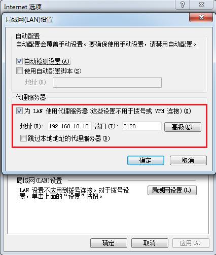 填写Squid服务器的IP地址与端口号