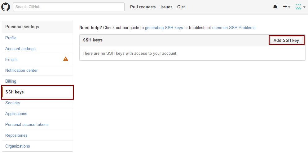 点击添加SSH公钥