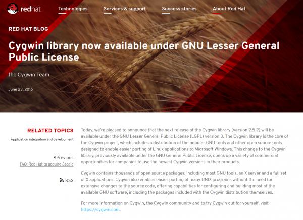 Cygwin库切换到LGPL v3许可证