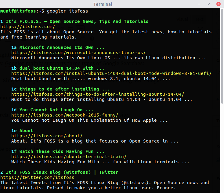 Googler:现在可以 Linux 终端下进行 Google 搜索了!