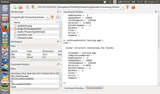 科学音频处理(一):怎样使用 Octave 对音频文件进行读写操作