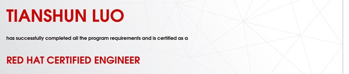 捷讯:罗天顺10月25日上海顺利通过RHCE认证。