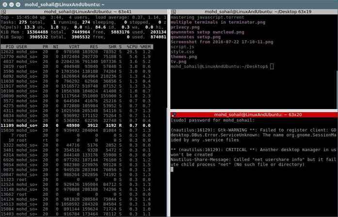 Terminator:一款一个窗口包含多个终端的 Linux 终端仿真器