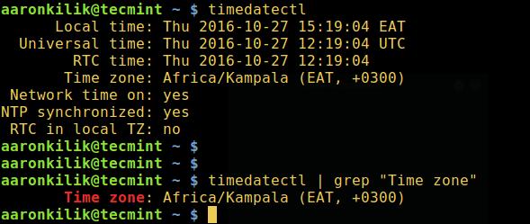在 Linux 中查看你的时区