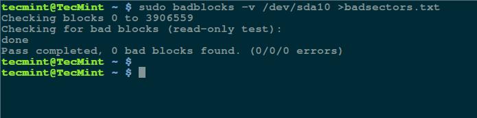 在 Linux 上检测硬盘上的坏道和坏块