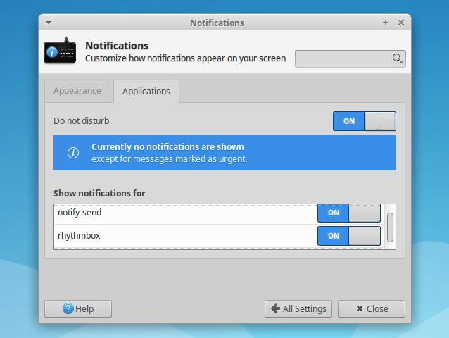 Xfce 桌面新增'免打扰'模式以及单一应用通知设置的新特性