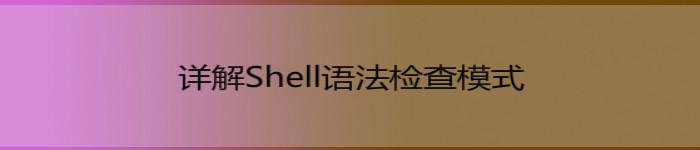 详解shell语法检查模式