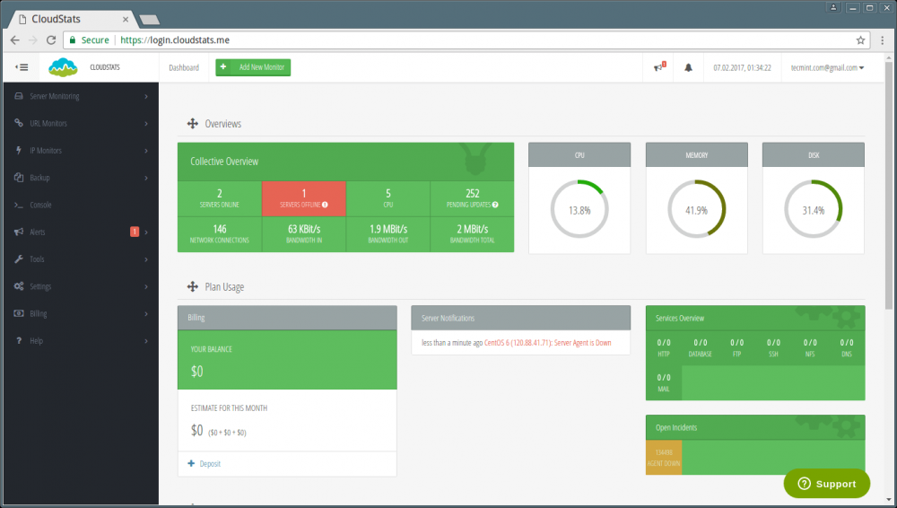 CloudStats :SaaS 服务器监控工具