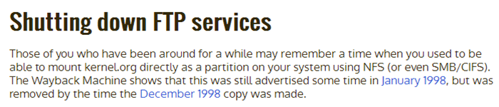 Linux 内核组织(kernel.org)将关闭 FTP 服务