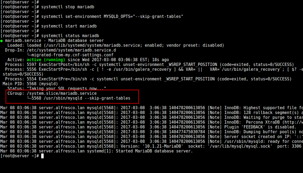 如何在 Linux 中重置 MySQL 或者 MariaDB 的 root 密码