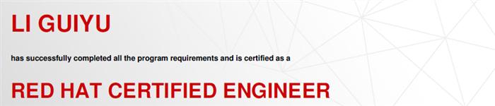 捷讯:李桂宇3月22日上海顺利通过RHCE认证。