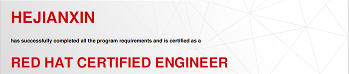 捷讯:何建新5月28日上海顺利通过RHCE认证。