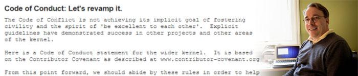 Linus已经确定将 Code of Conduct 行为准则应用于 Linux 内核