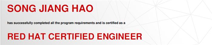 捷讯:宋江浩10月4日上海顺利通过RHCE认证。