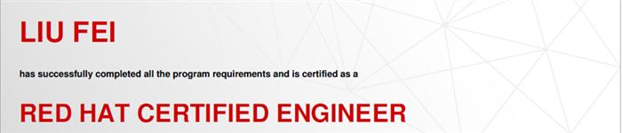 捷讯:刘飞10月6日北京顺利通过RHCE认证。