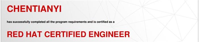 捷讯:陈天翼11月5日上海顺利通过RHCE认证。