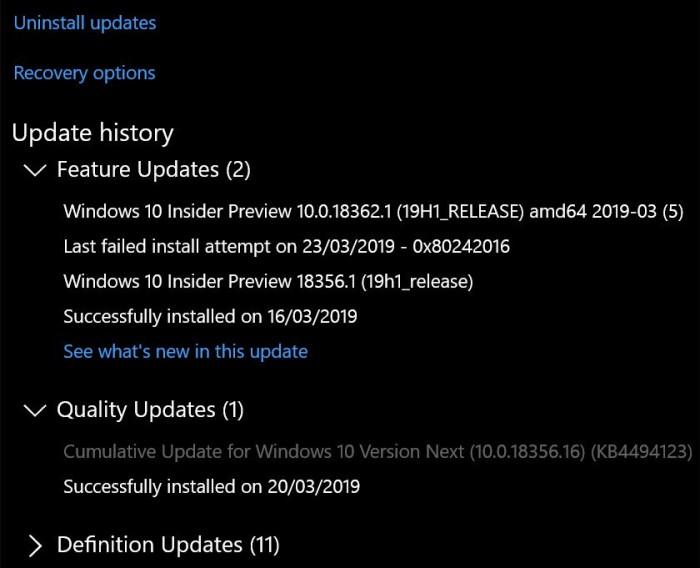 微软承认累积更新问题导致部分Slow用户无法升至Build 18362微软承认累积更新问题导致部分Slow用户无法升至Build 18362