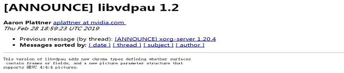 支持HEVC 4:4:4的VDPAU Library 1.2 发布,