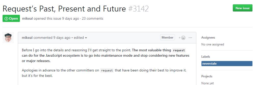 Node.js 最早 npm 包 request 将被废弃Node.js 最早 npm 包 request 将被废弃