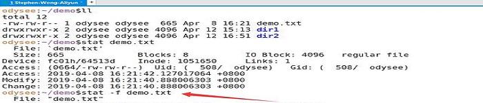 Linux:査看文件的详细信息