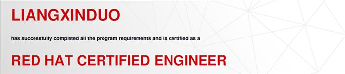 捷讯:梁新铎4月29日上海顺利通过RHCE认证。