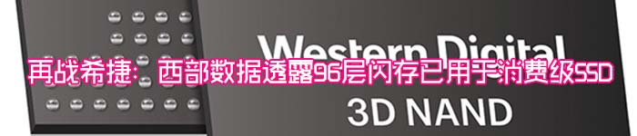 再战希捷:西部数据透露96层闪存已用于消费级SSD