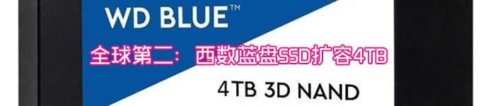 全球第二:西数蓝盘SSD扩容4TB