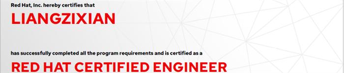 捷讯:梁子贤6月24日广州顺利通过RHCE认证。