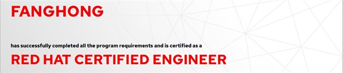 捷讯:方洪6月6日上海顺利通过RHCE认证。