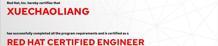 捷讯:薛朝亮6月6日上海顺利通过RHCE认证。
