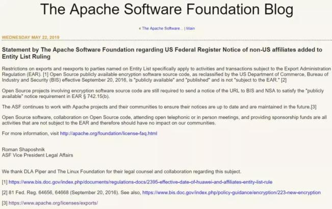 Apache官方强心剂:开源不受出口管理条例约束!Apache官方强心剂:开源不受出口管理条例约束!
