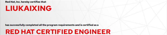 捷讯:刘凯6月28日上海顺利通过RHCE认证。