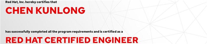 捷讯:陈坤隆7月30日广州顺利通过RHCE认证。