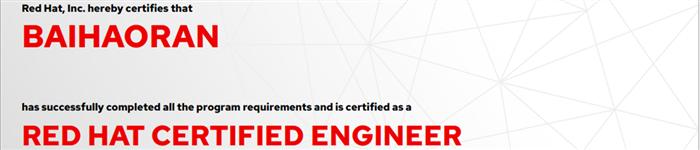 捷讯:白浩然8月23日北京顺利通过RHCE认证。