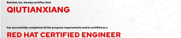 捷讯:邱天祥8月23日北京双满分通过RHCE认证。