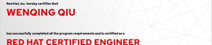 捷讯:仇文青9月9日上海顺利通过RHCE认证。