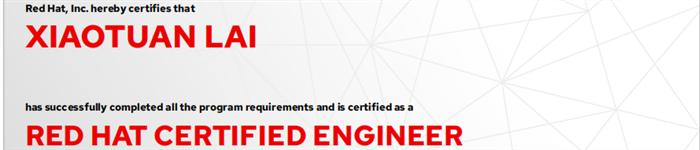 捷讯:赖小团9月9日上海顺利通过RHCE认证。