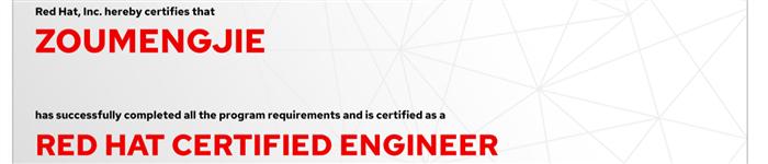 捷讯:邹萌杰10月31日上海顺利通过RHCE认证。