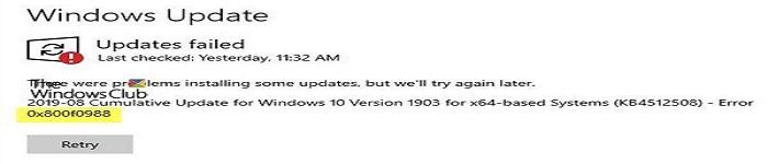 Windows 10更新报错0x800f0988