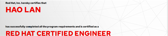 捷讯:兰浩1月14日北京顺利通过RHCE认证。