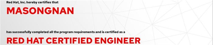 捷讯:马松楠12月30日上海顺利通过RHCE认证。