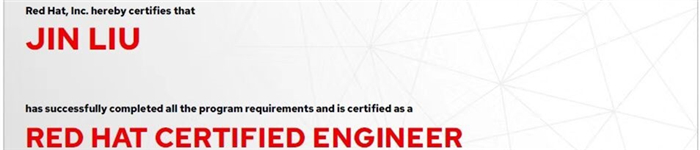捷讯:刘进1月14日北京顺利通过RHCE认证。
